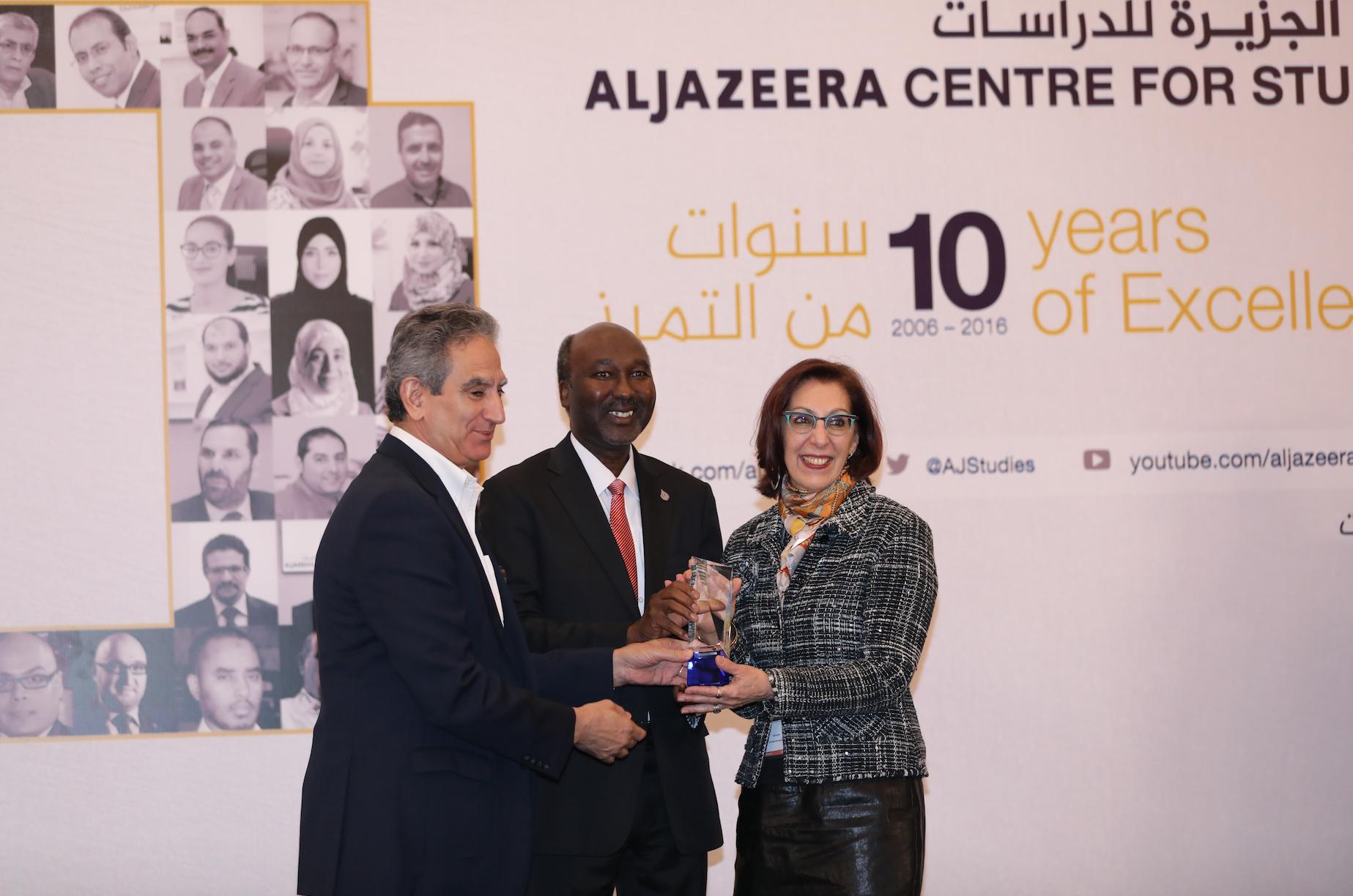 Dr. Mostefa Souag, Acting Director General of Al Jazeera;  Dr. Salah Eddin Elzein, Director of Al Jazeera Center for Studies and Dr. Roxane Farmanfarmaian, Principal Investigator of the University of Cambridge - Al Jazeera Media Project